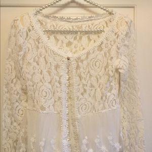 Jackets & Blazers - White Lace Jacket w/ Single Button Closure XXS